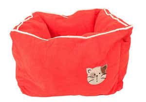 Pet Stop Store Orange Red Comfy Cozy Square Suede & Cotton Cat Bed Avail in 5 Colors