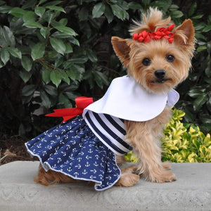 Pet Stop Store Patriotic Nautica Red, White & Blue Dog Dress w/ Leash & D-Ring