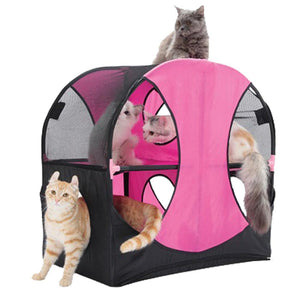 Pet Stop Store Pink Black Kitty-Play Obstacle Travel Cat House