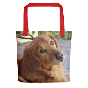 Pet Stop Store Red Porch Golden Retriever Tote Bag