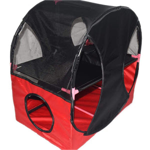 Pet Stop Store Red Black Kitty-Play Obstacle Travel Cat House