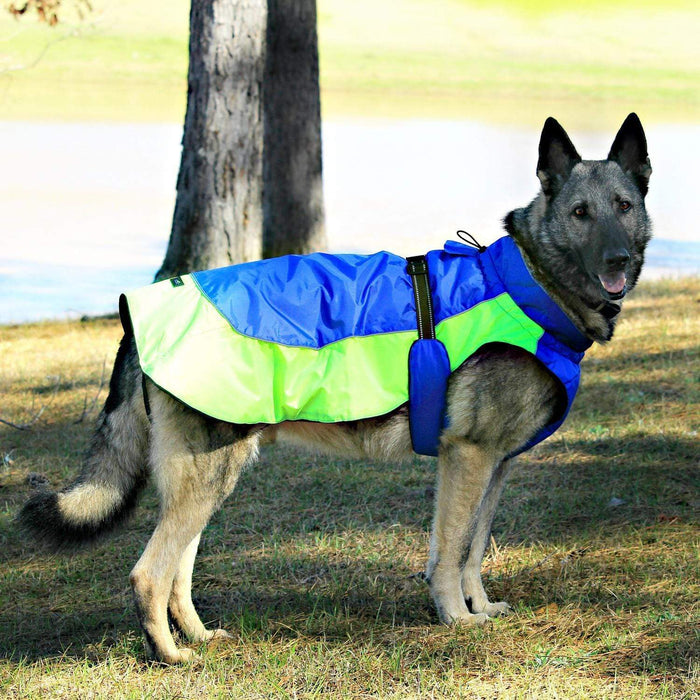 Lime Green & Blue Solid Alpine All Weather Waterproof Dog Coat
