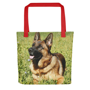 Pet Stop Store Red Grassy German Shepherd Tote Bag