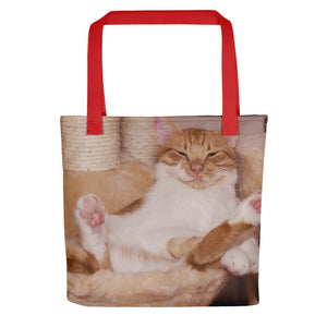Pet Stop Store Red Lazy Fat Cat Tote Bag