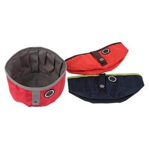 Pet Stop Store Red Modern Nylon Trek Round Portable Pet Bowl Available in 3 Colors