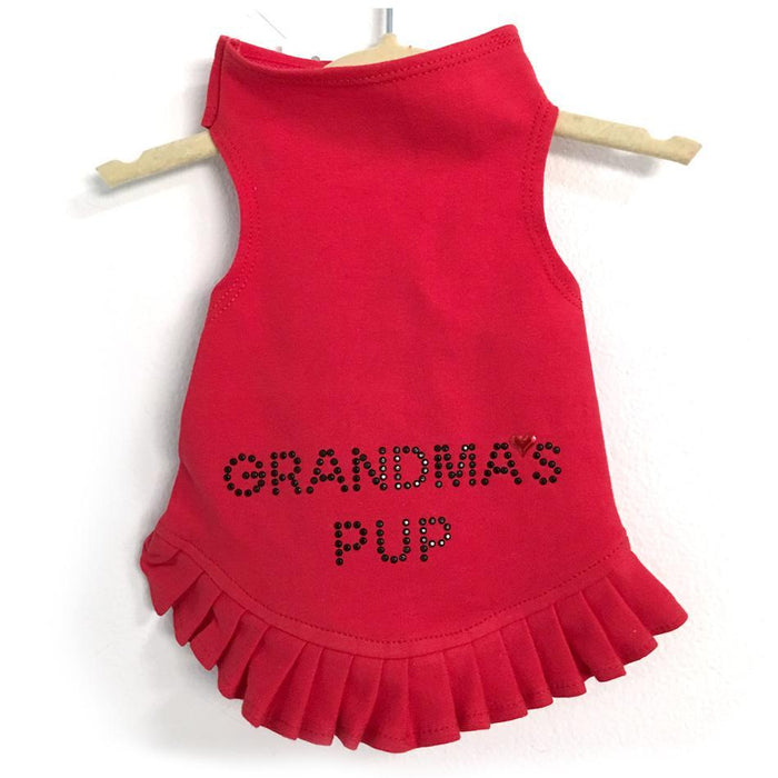 Red Studded Grandma's Pup Flounce Dress