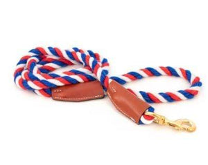 Pet Stop Store Red White Blue Cotton Rope Leash with Leather Accents