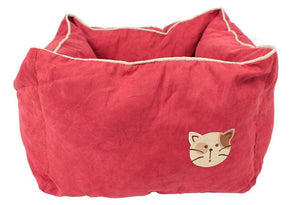 Pet Stop Store Rose Red Comfy Cozy Square Suede & Cotton Cat Bed Avail in 5 Colors