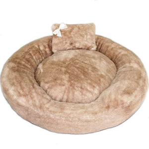 Pet Stop Store round Brown Teddy Bear Dog Bed with Pillow & Satin Bow