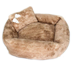 Pet Stop Store s Brown Teddy Bear Dog Bed with Pillow & Satin Bow