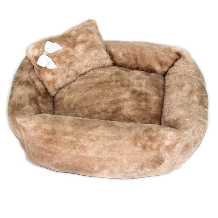 Brown Teddy Bear Dog Bed with Pillow & Satin Bow