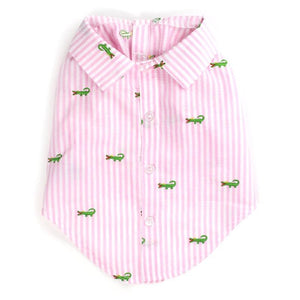 Pet Stop Store s Cute Pastel Pink Striped Alligator Dog Shirt
