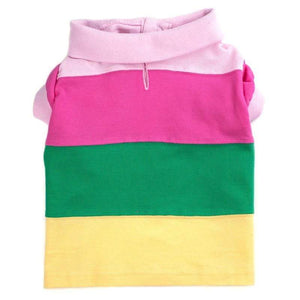Pet Stop Store s Cute & Fun Pastel Colorblock Striped Dog Polo