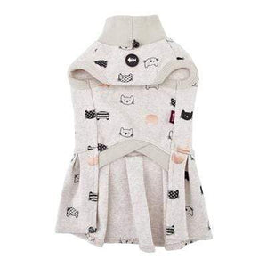 Pet Stop Store s oatmeal One Piece Oatmeal & Charcoal Cat Patterned Turtleneck Cat Dress