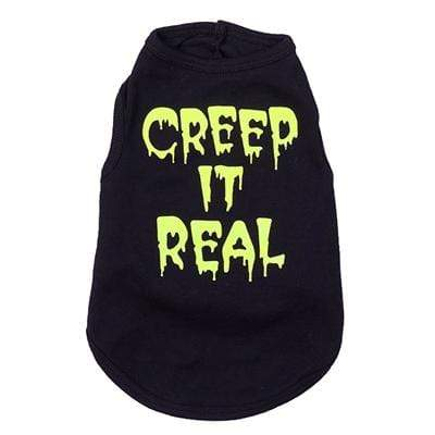 Playful Black & Yellow Creep it Real Dog Tee's