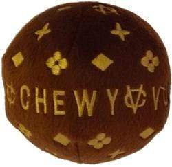 Pet Stop Store small Stylish Classic Brown & Gold Chewy Vuiton Plush Chew Ball for Dogs