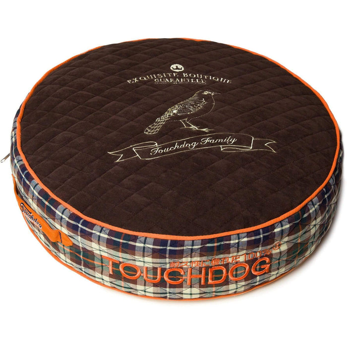 Dark Brown & Orange Posh Round Designer Fleece Plaid Dog Bed