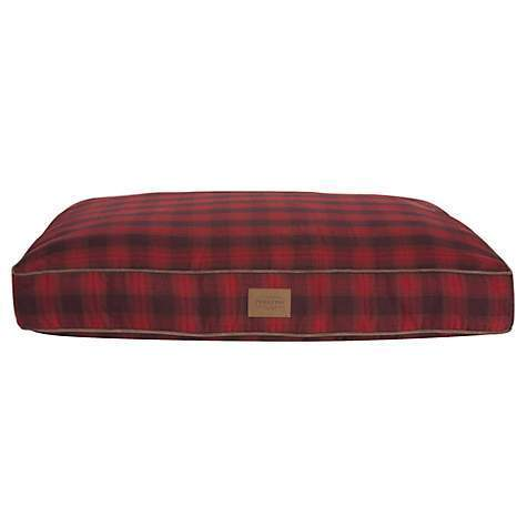 Red Ombre Plaid Pet Napper Dog Bed