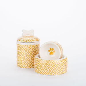 Pet Stop Store small round dish Gold Trellis Dog Bowls & Treat Jars Collection