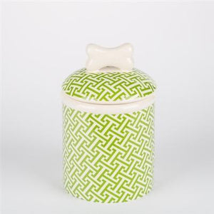 Pet Stop Store Small Treat Jar Green Trellis Dog Bowls & Treat Jars Collection Kitchen Accessories