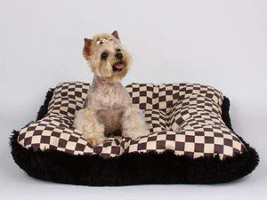 Pet Stop Store Square Windsor Checkered Dog Bed w/Black Shag
