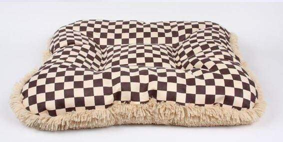 Square Windsor Checkered Dog Bed w/Camel Shag