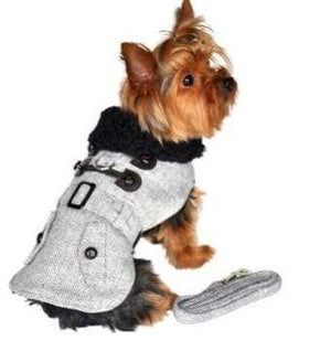 Pet Stop Store Stylish Gray Herringbone Dog Coat Harness with Leash