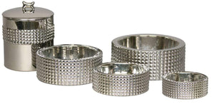 Pet Stop Store Stylish & Modern Berlin Nickel Plated Porcelain Dog Bowl Sets