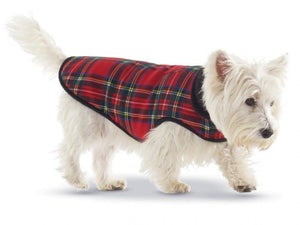 Pet Stop Store Stylish Red & Blue Plaid with Fleece Lining Winter Dog Coat
