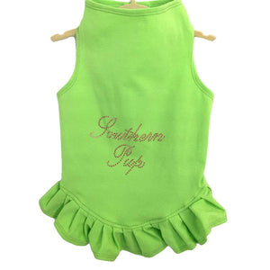 Pet Stop Store Teacup 2-3 lbs Lime Green Studded Southern Pup Flounce Dress