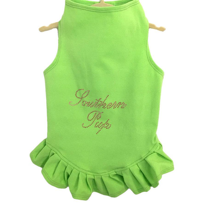 Lime Green Studded Southern Pup Flounce Dress