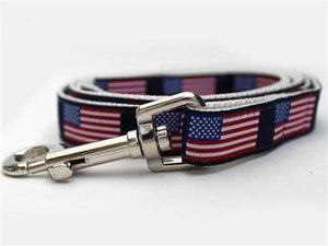 Pet Stop Store Teacup Leash: 5/8 in. x 4 ft. Patriotic Red, White & Blue Stars n Stripes Dog Leash