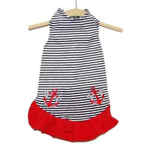 Pet Stop Store Teacup Nautical Red & Blue Stripe Dog Dress with Anchors