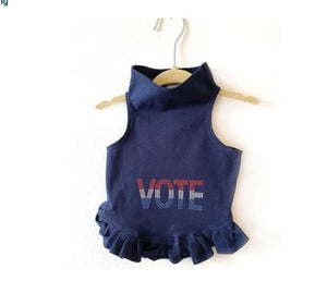 Pet Stop Store Teacup / Navy VOTE in Red, White, & Blue Flounce Dress