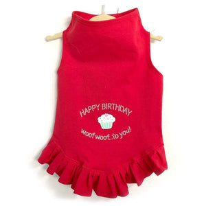 Pet Stop Store Teacup / Pink Red Happy Birthday Dog Dress All Sizes