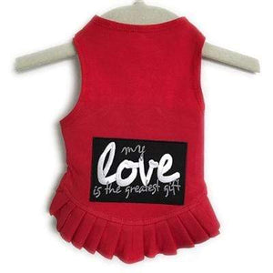 Pet Stop Store Teacup / Red My Love Is The Greatest Gift Flounce Red Dog Dress at Pet Stop Store