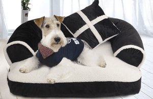 Pet Stop Store Trendy Black & White Couch Like Dog Bed with Pillow