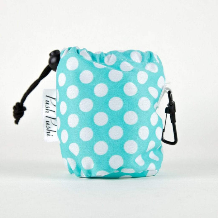 Water Resistant Pastel Blue & White Polka Dot Dog Treat Pouch