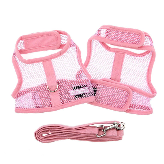 Cute Pink Mesh Velcro Dog Harness with Leash