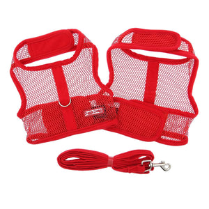 Pet Stop Store x-small Cute Red Mesh Velcro Dog Harness with Leash