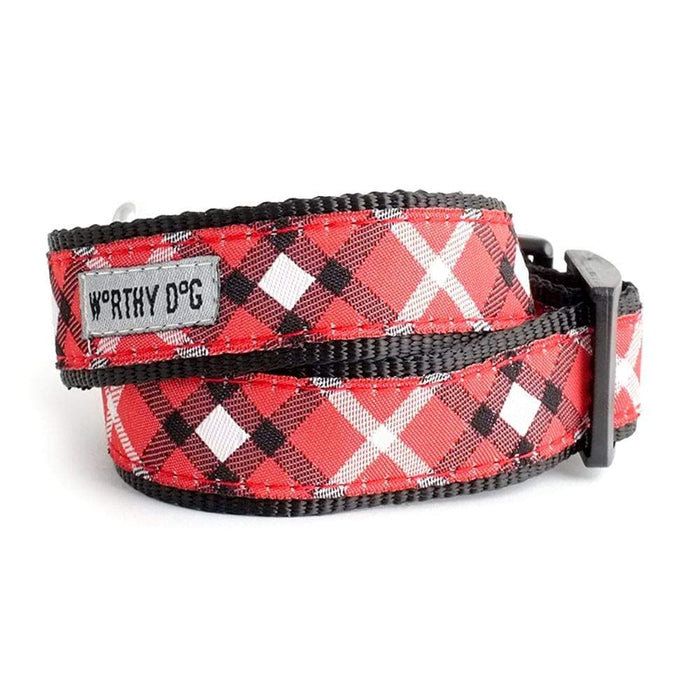 Bias Plaid Red Dog Collar & Leash Collection