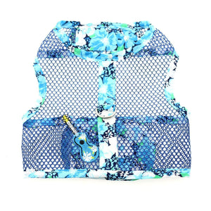 Pet Stop Store x-small Fun & Cute Ukelele Blue Hibiscus Cool Mesh Dog Harness w/Leash & D-Ring