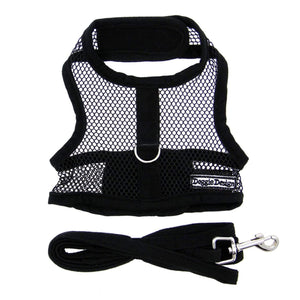Pet Stop Store x-small Sporty & Cute Black Mesh Velcro Dog Harness with Leash