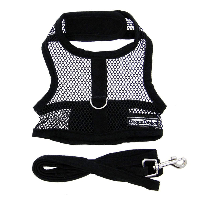 Sporty & Cute Black Mesh Velcro Dog Harness with Leash