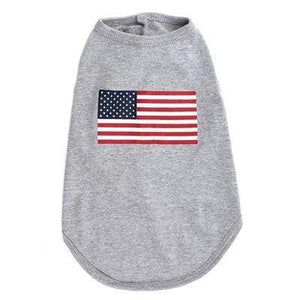 Pet Stop Store xs American Flag Gray Dog Tee All Sizes