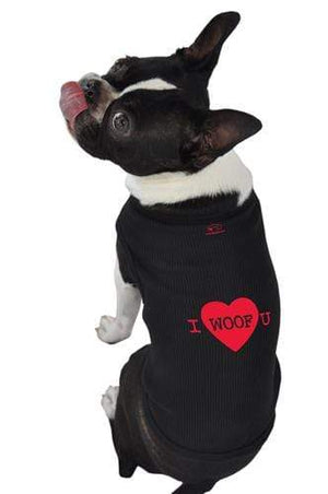 Pet Stop Store xs black I Woof You Tank Top All Sizes Avail Black & White