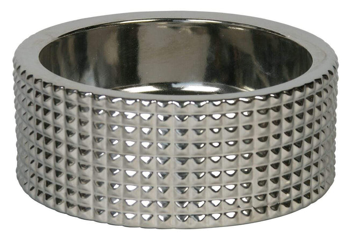 Stylish & Modern Berlin Nickel Plated Porcelain Dog Bowl Sets