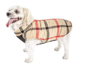 Pet Stop Store xs Classical Blue & Red Plaid Insulated Dog Coat