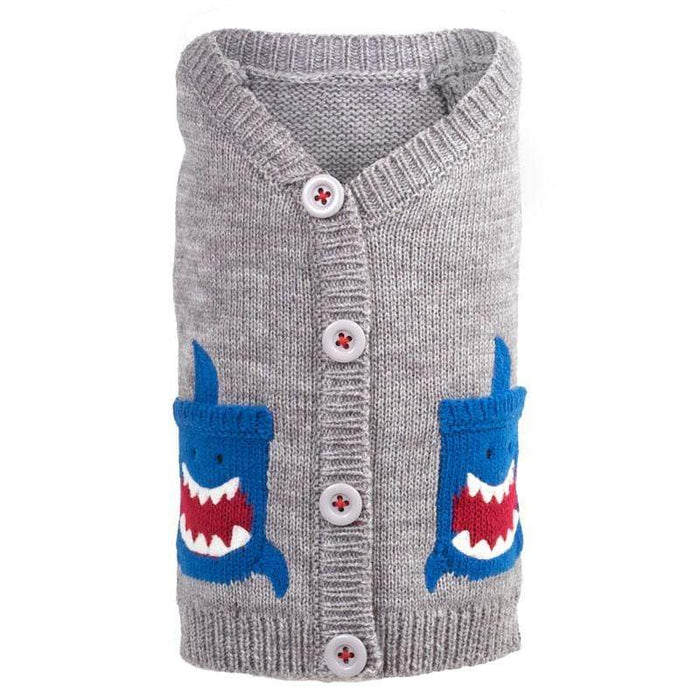 Cute & Playful Gray Shark Cardigan Dog Sweater