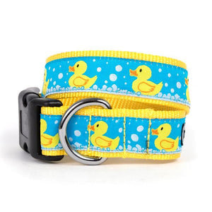 Pet Stop Store XS Dog Collar Pastel Blue & Yellow Rubber Duck Dog Collar & Leash